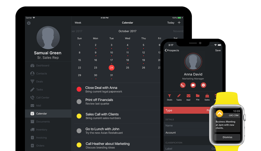 Gro CRM Calendar, Notifications and Apple Watch